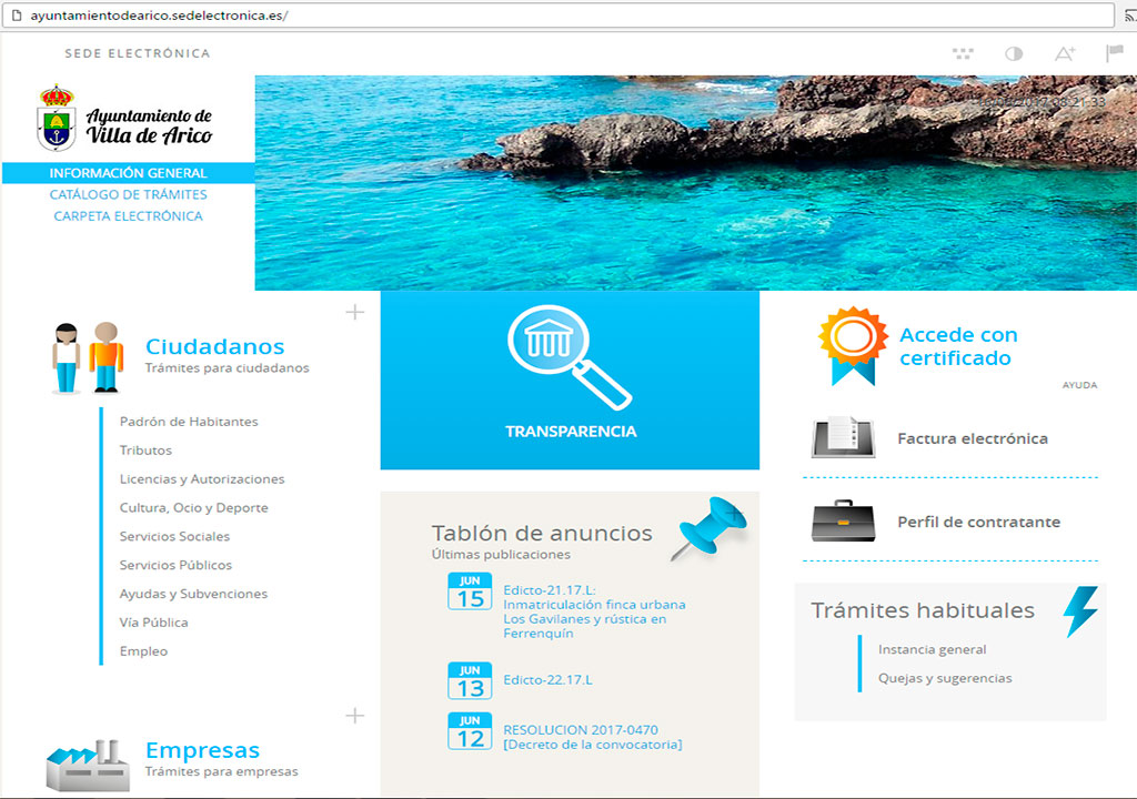 Captura web nueva Sede electrónica Arico