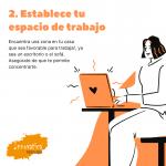 Establece tu espacio de trabajo, mujer trabajando