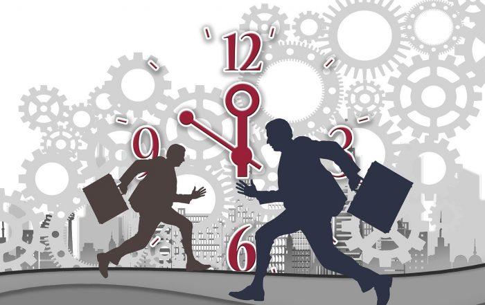 Estrés, correr, reloj